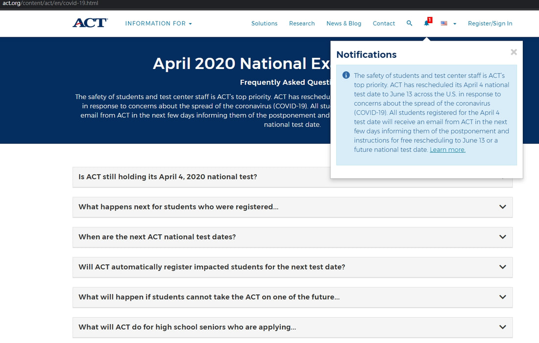 ACT date cancellation in the U.S. nationalwide